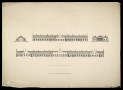 Sir Jamsetjee Jeejeebhoy's Hospital, Bombay, 'Side and front Elevations'. Published c.1842. 227